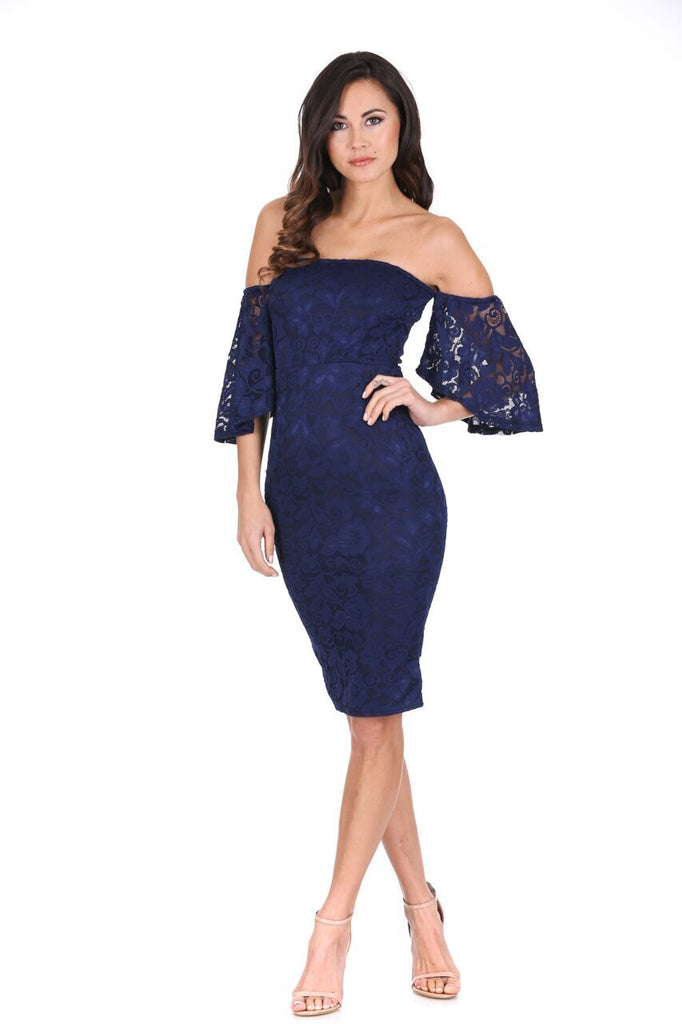 Navy Lace Frill Sleeve Midi Dress