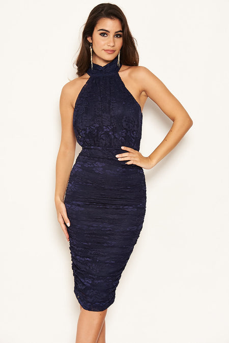 Navy Lace High Neck Puff Sleeve Midi Dress
