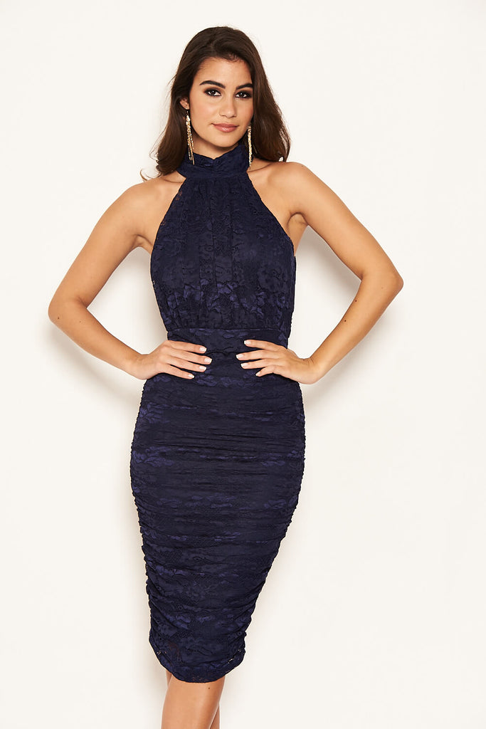 Navy Lace High Neck Ruched Dress