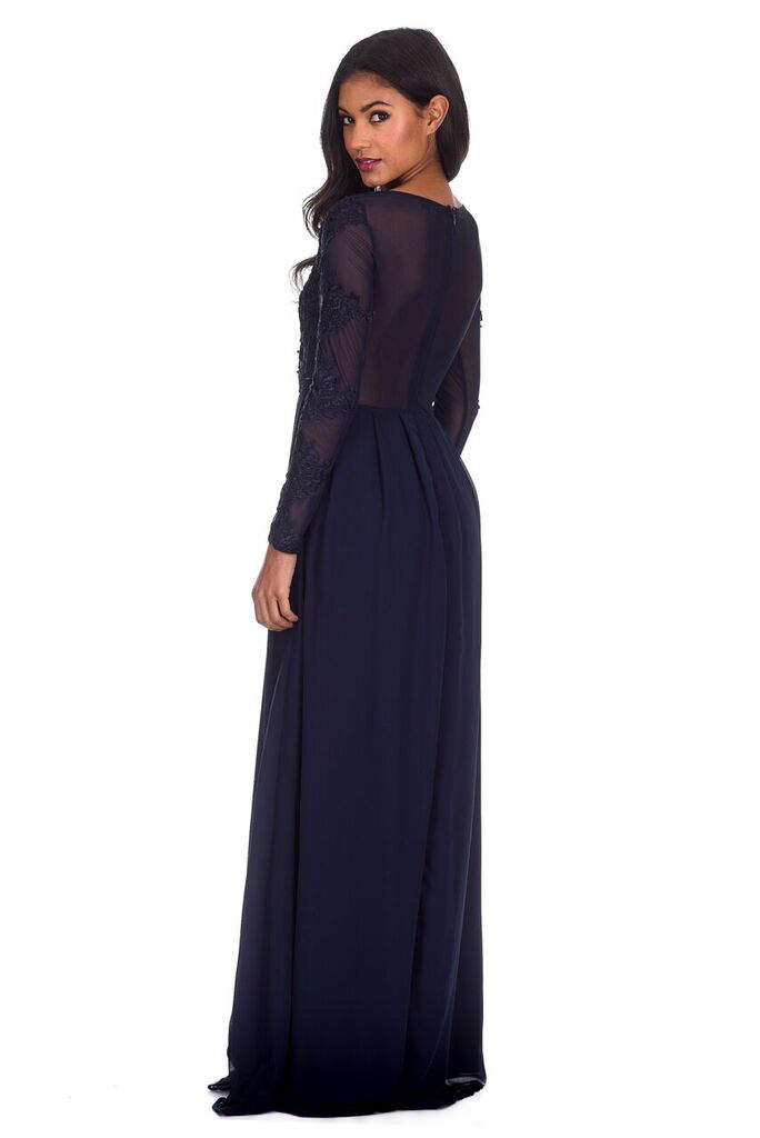 Navy Lace Insert Maxi Dress