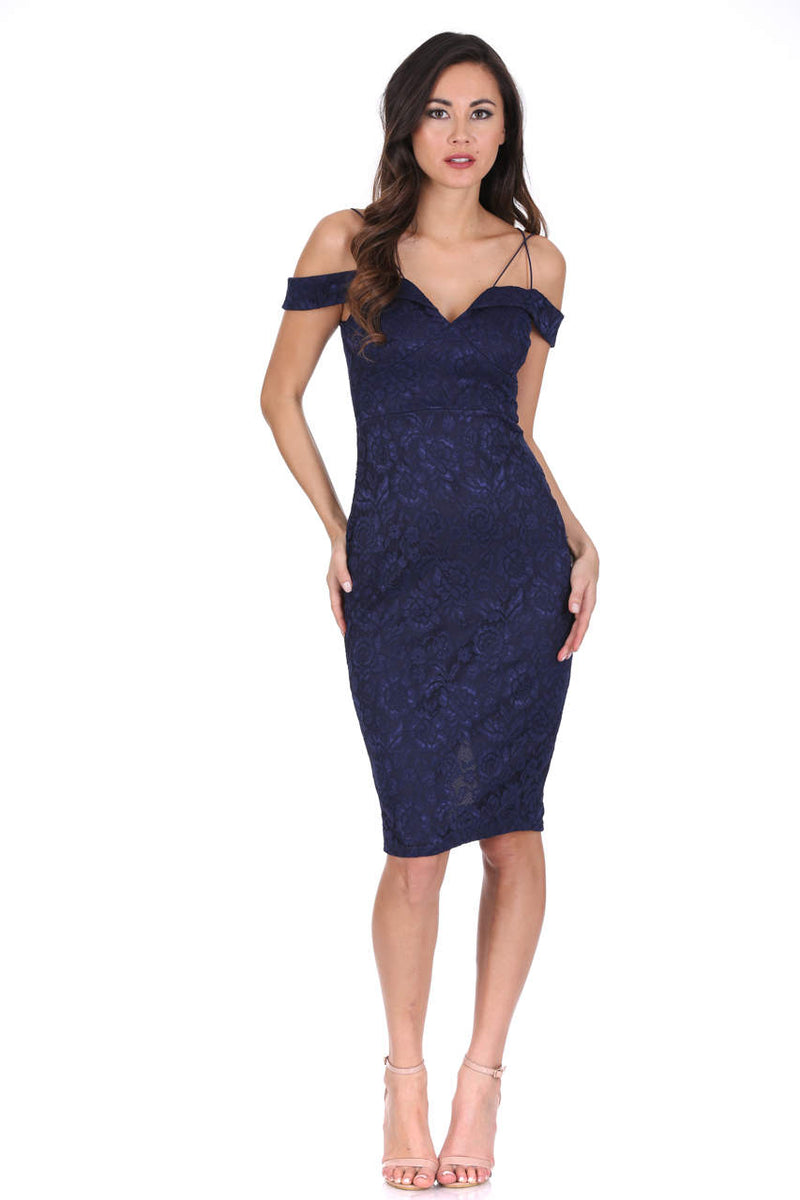 Navy Off The Shoulder Strappy Lace Midi Dress