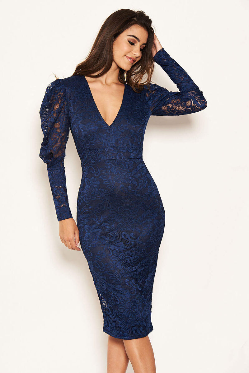 Navy Lace Puff Sleeve Midi Dress