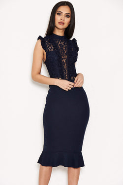 Navy Lace Ruffle Hem And Sleeve Dress