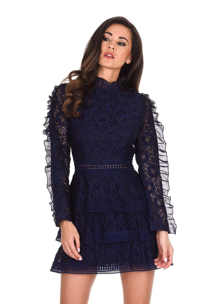 Navy Lace Tiered Mini Dress