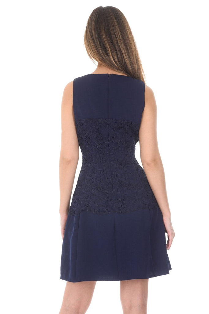 Navy Lace Waist Skater Dress