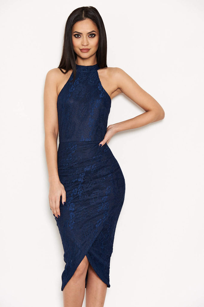 Navy Lace Wrap Dress