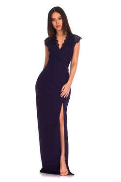 Navy Lace Wrap Over Maxi Dress