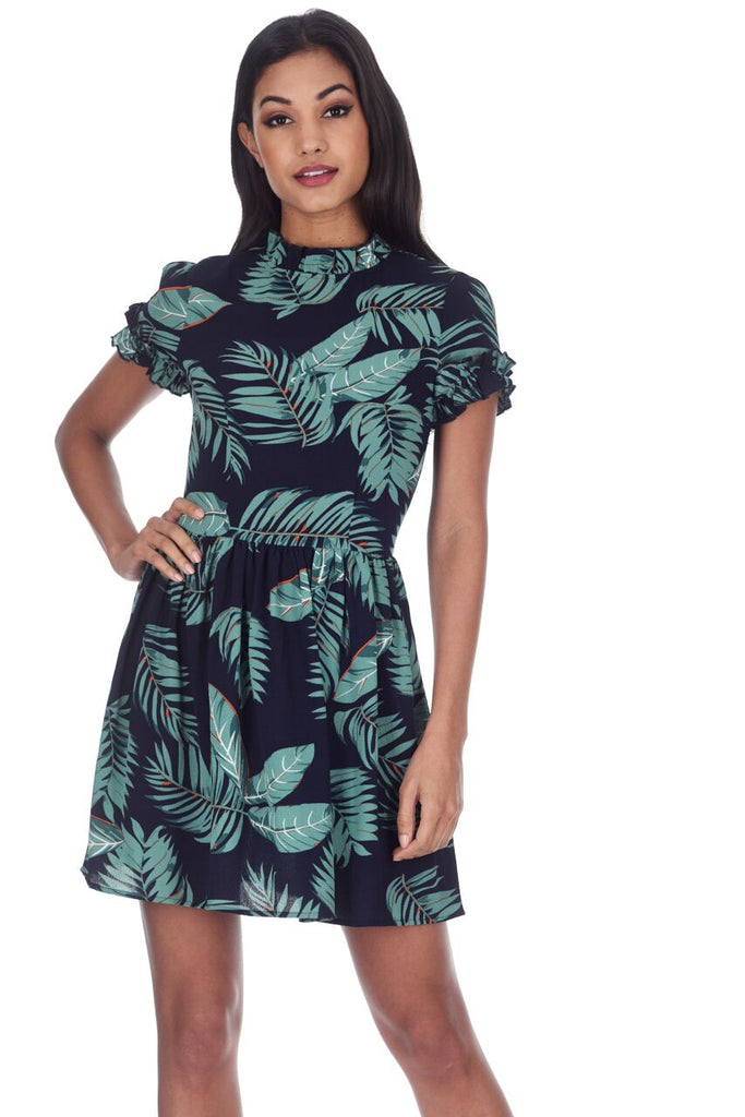 Navy Leaf Printed Mini Dress