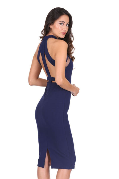 Navy Mesh Detail Bodycon Dress