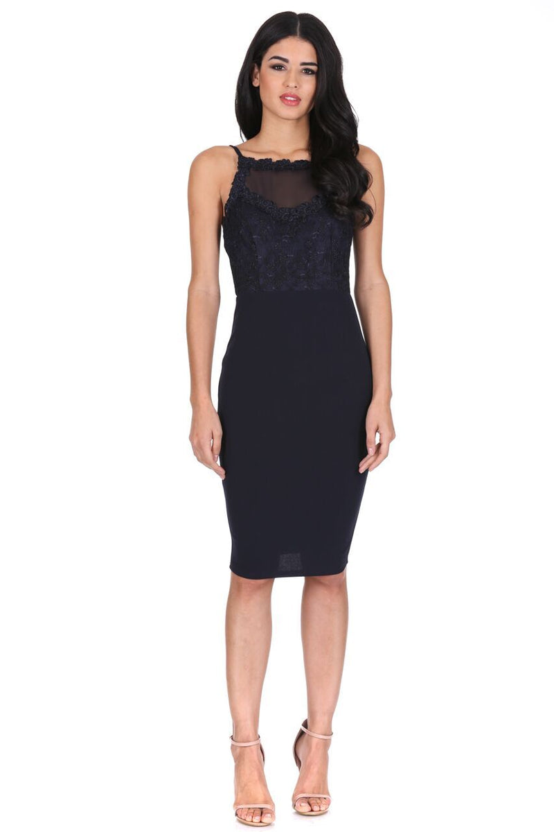 Navy Mesh Embroidered Midi Dress