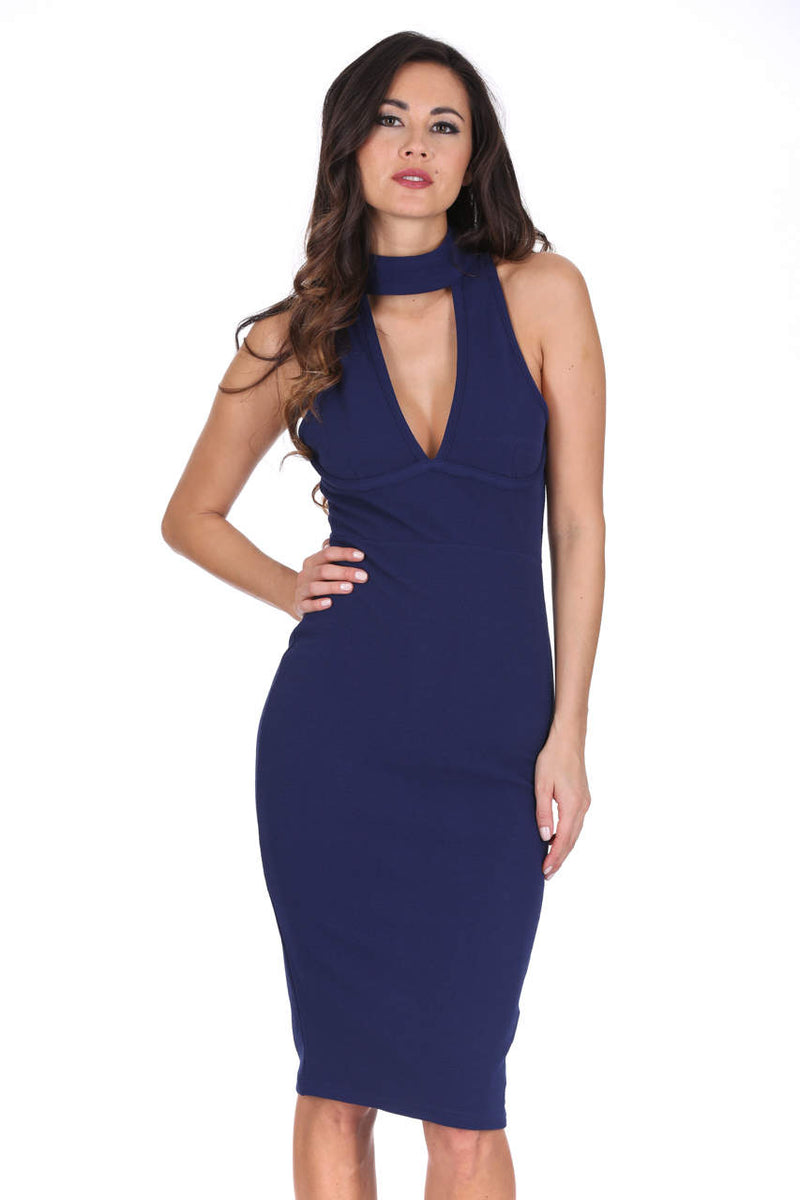 Navy Midi Choker Neck Dress