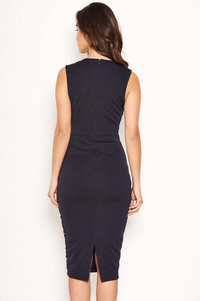 Navy Midi Dress With Lace Contrast Front