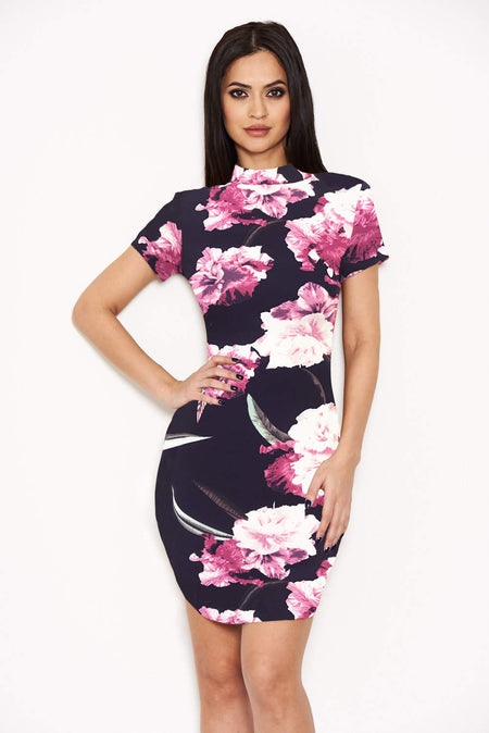 2 In 1 Black High Neck Printed Dress