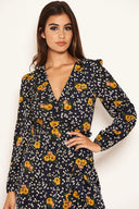 Navy Mixed Floral Wrap Dress