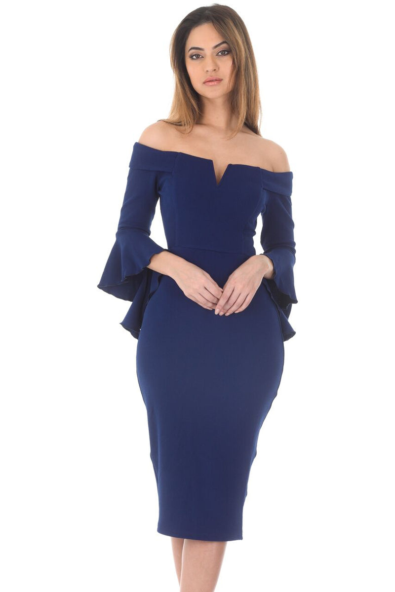 Navy Notch Front Frill Sleeve Midi Dress