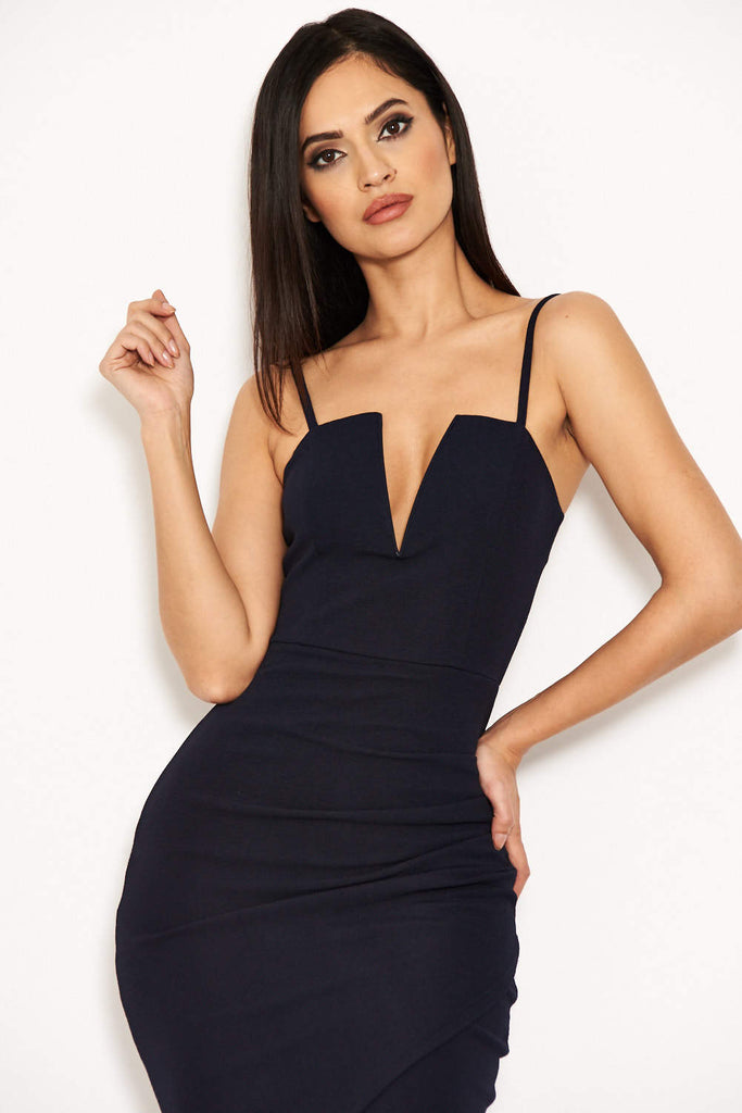 Navy Notch Front Wrap Dress