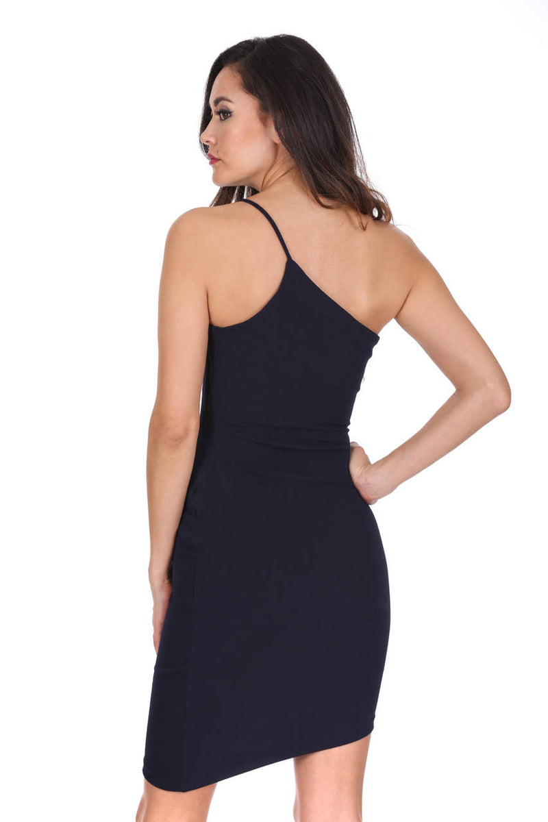 Navy Off The Shoulder Asymmetric Hem Dress