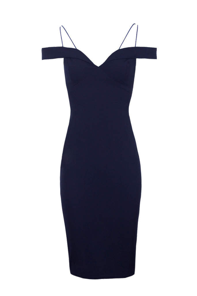 Navy Off The Shoulder Bodycon Dress