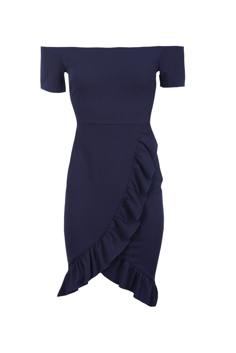 Navy Off The Shoulder Frill Detail Bodycon Dress