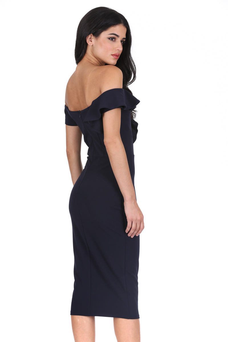 Navy Off The Shoulder Frill Detail Midi Dress
