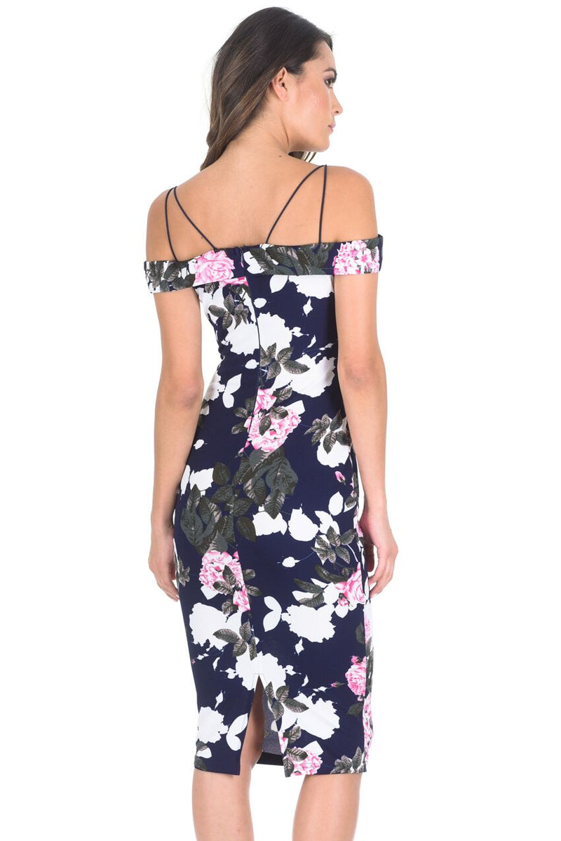 Navy Off Shoulder Floral Bodycon Midi Dress