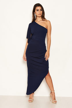 Navy One Shoulder Asymmetric Split Dress