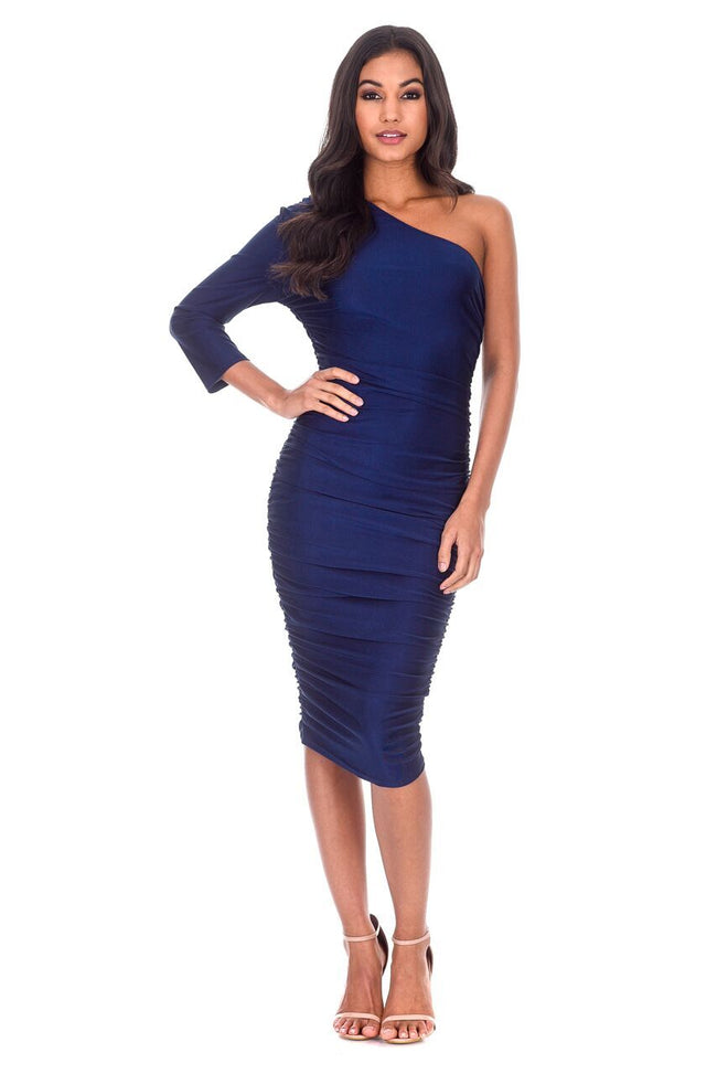 Navy One Sleeve Slinky Midi Dress