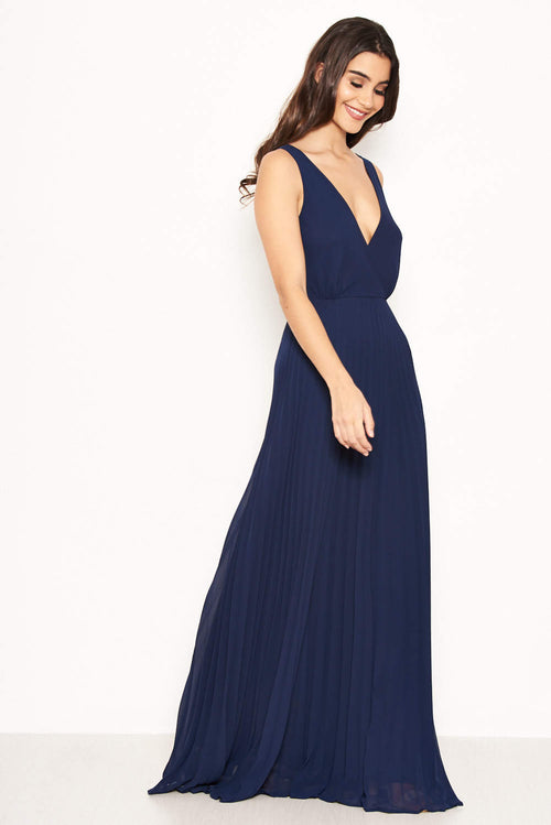 7a27150136 Navy Pleated Maxi Dress With Lace Straps