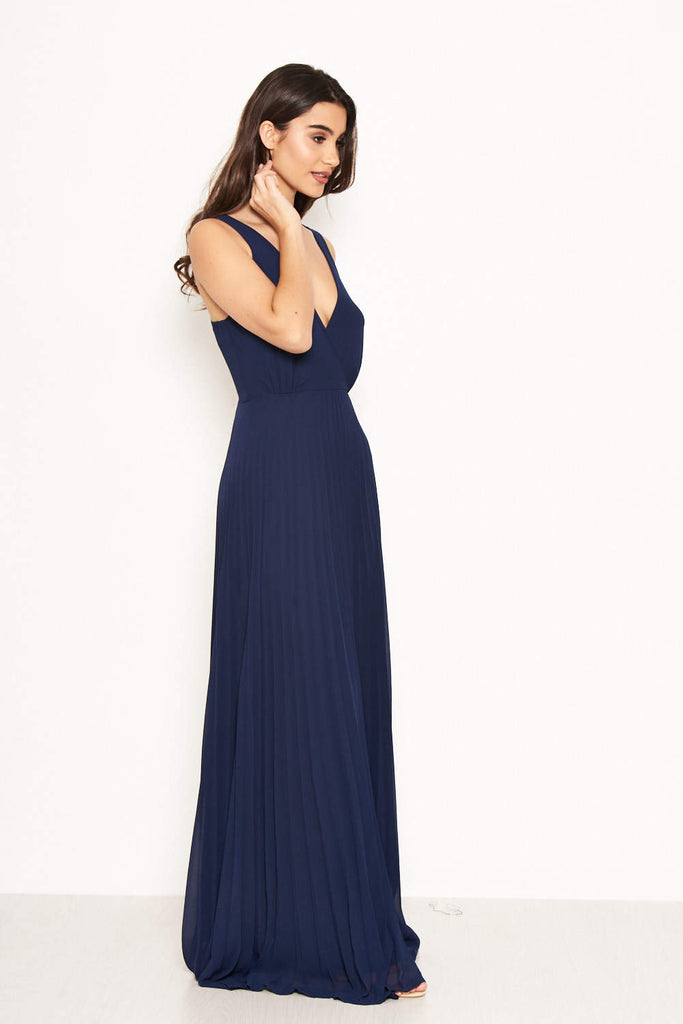 Navy Pleated Maxi Dress With Lace Straps
