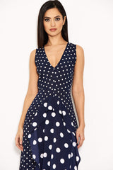 Navy Polka Dot Asymmetric Dress