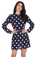 Navy Polka Dot Crochet Waist Skater Dress
