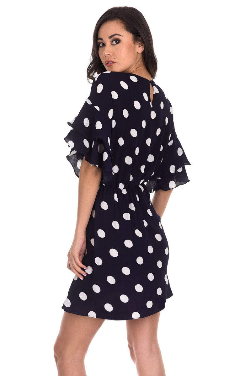 Navy Polka Dot Frill Sleeve Dress