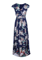 Navy Print Wrap V Neck Dress