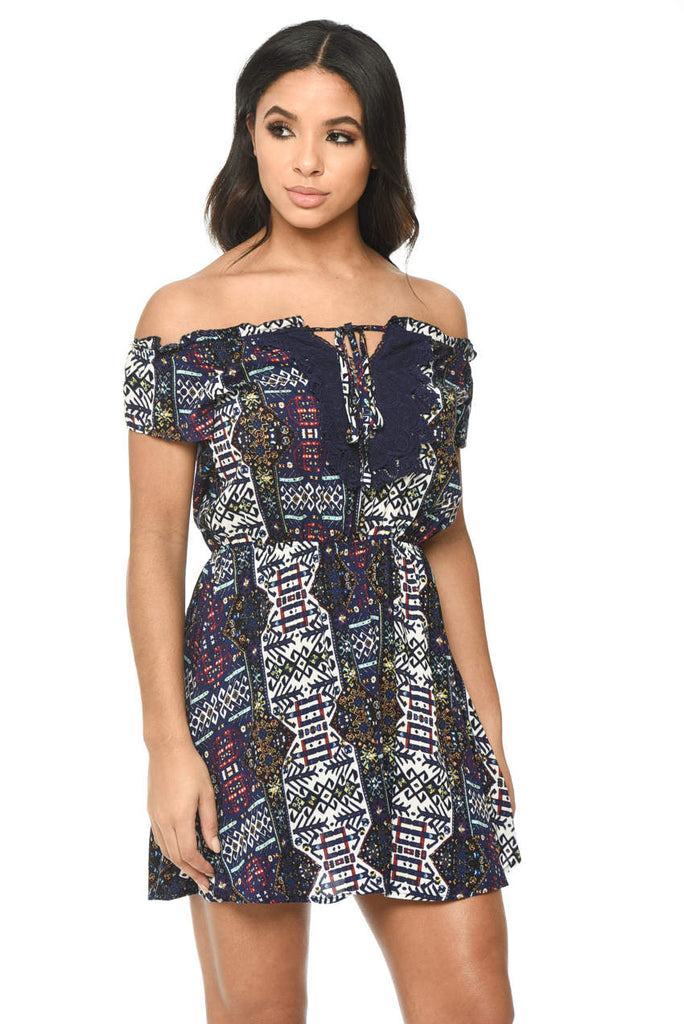 Navy Printed Dress With Lace Detail