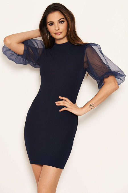 Black Button Front Detail Bodycon Midi Dress