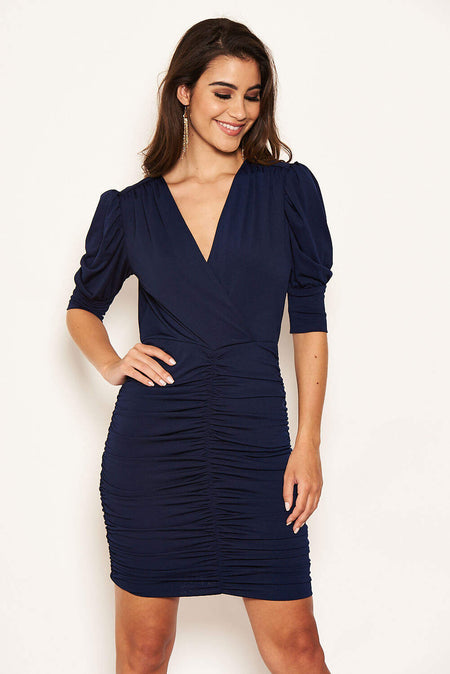 Navy Ruched Short Puff Sleeve Midi Dress