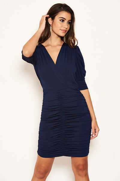 Navy Ruched Midi Dress with Cut Out Back