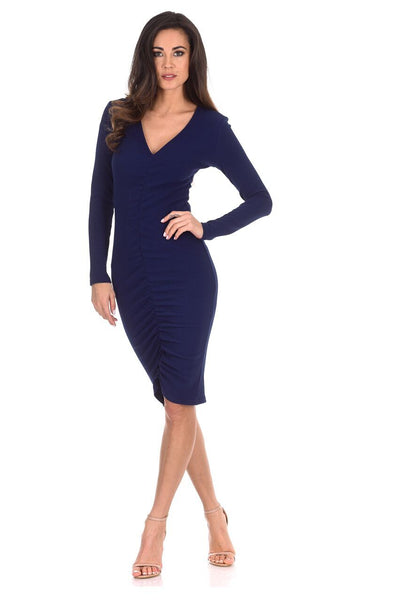 Navy Ruched Sleeved Dress