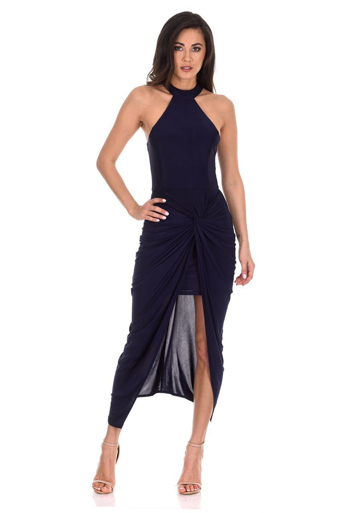 Navy Ruched Wrap Over Dress