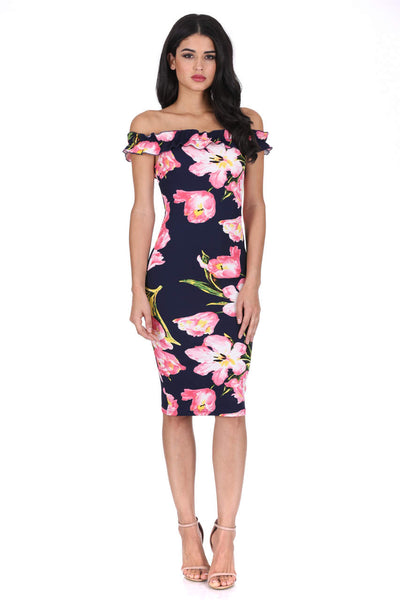 Navy Ruffle Bardot Floral Midi Dress