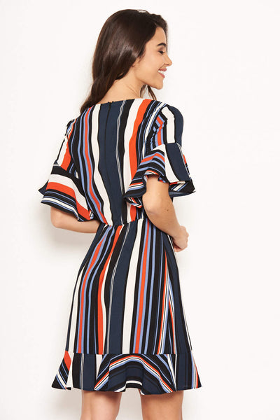 Navy Striped Wrap Dress