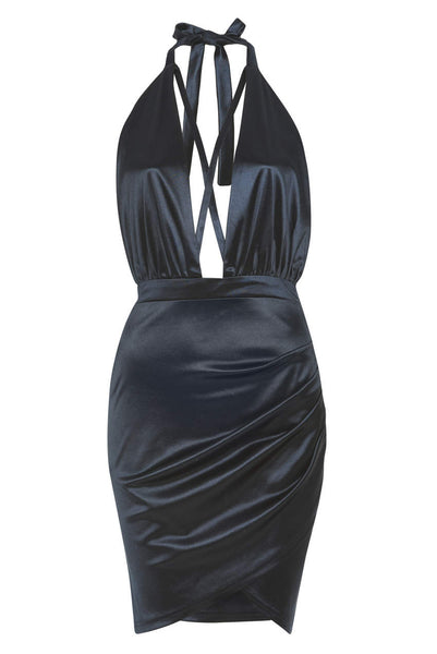 Navy Satin Halterneck Dress With Ruched Detail