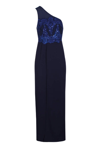 Navy Sequin Maxi Dress With Thigh High Split