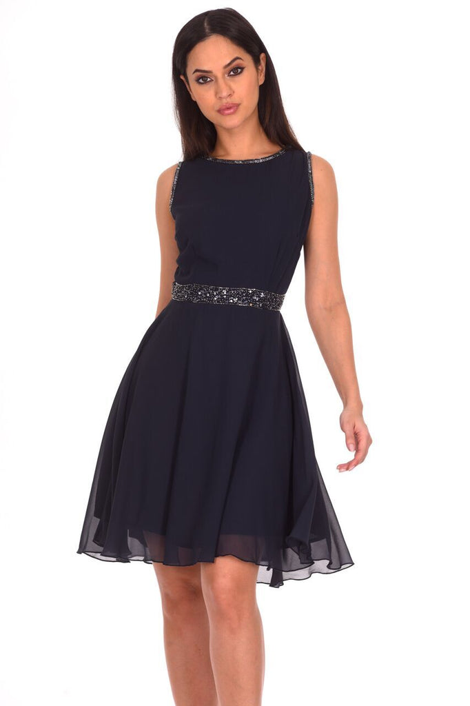 Navy Sequin Skater Dress