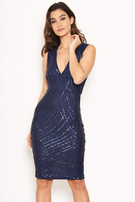 Navy Slinky Ruched Cold Shoulder Dress