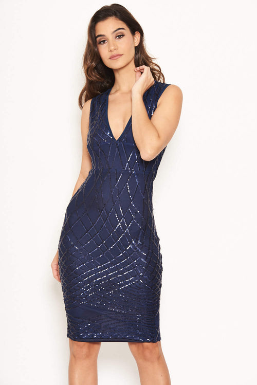 abd701f1d1 Navy Sequin V Front Bodycon Dress