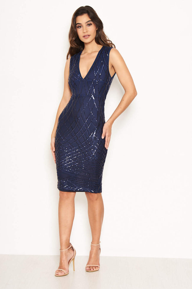 Navy Sequin V Front Bodycon Dress