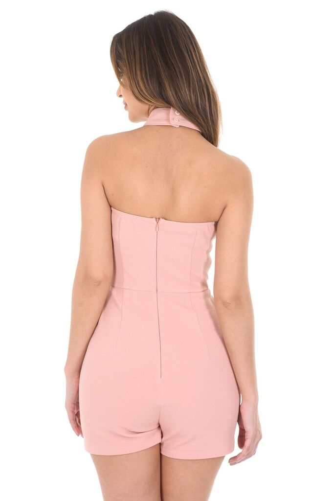 Blush Skort Playsuit With A Choker Neckline