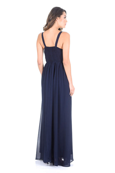 Navy Sleeveless Embroidered Maxi Dress