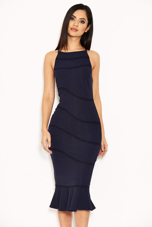 Navy Strappy Fishtail Dress